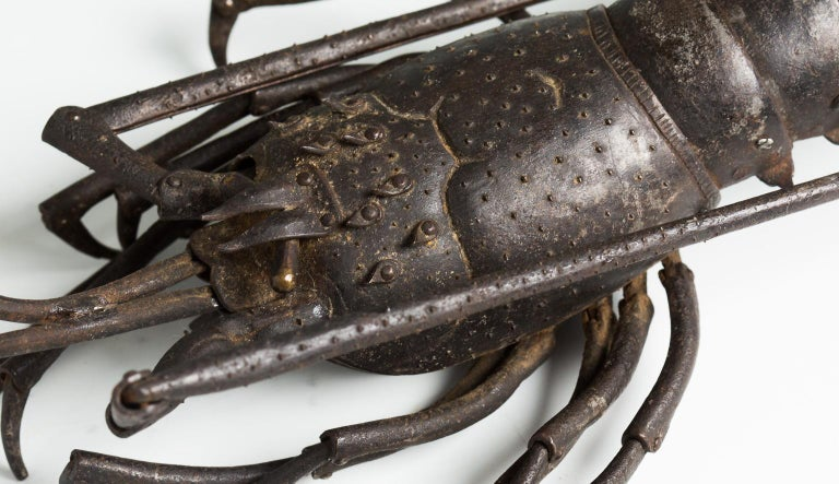 Embossed Japanese Articulated Iron Jizai Okimono of a Lobster by Myochin Muneharu For Sale