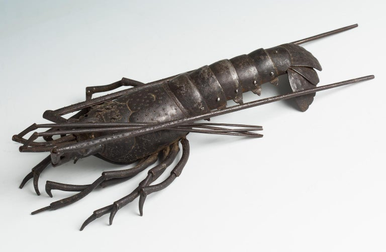 Japanese Articulated Iron Jizai Okimono of a Lobster by Myochin Muneharu In Good Condition For Sale In Milano, IT