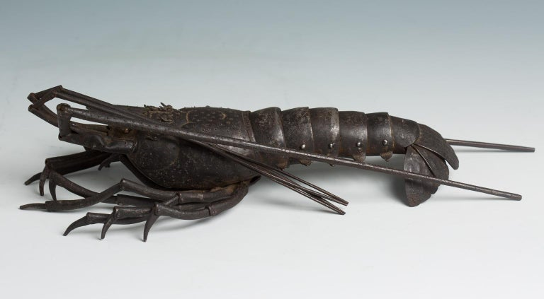 19th Century Japanese Articulated Iron Jizai Okimono of a Lobster by Myochin Muneharu For Sale