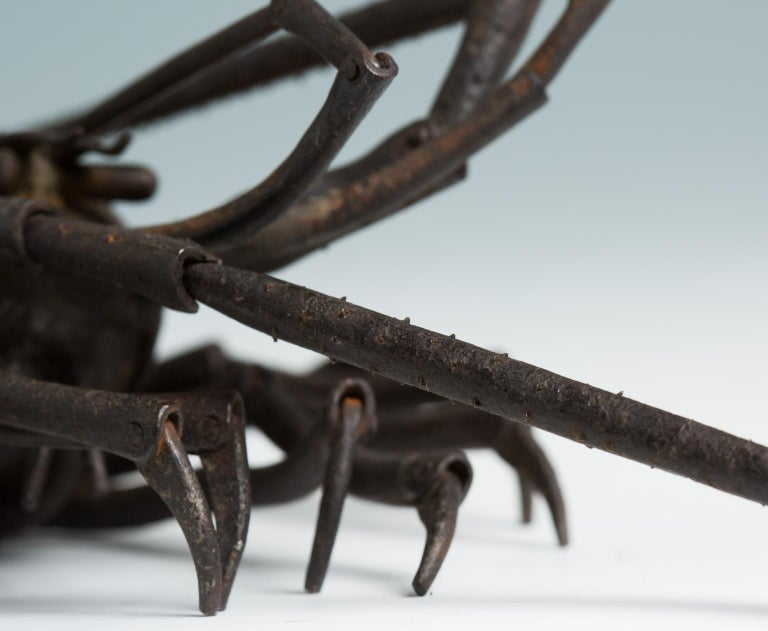 Japanese Articulated Iron Jizai Okimono of a Lobster by Myochin Muneharu For Sale 1