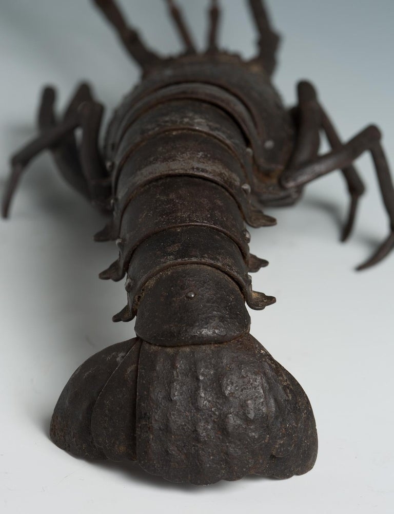 Japanese Articulated Iron Jizai Okimono of a Lobster by Myochin Muneharu For Sale 4