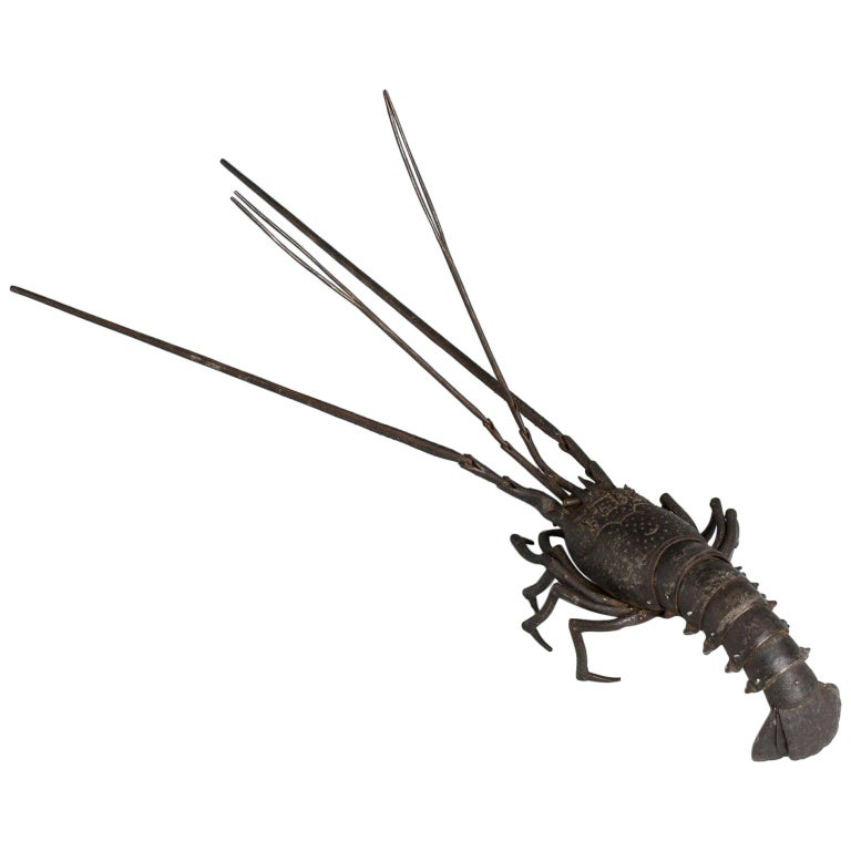 Japanese Articulated Iron Jizai Okimono of a Lobster by Myochin Muneharu For Sale