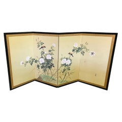 Japanese Asian Four-Panel Byobu Showa Folding Screen Playful Birds and Flowers