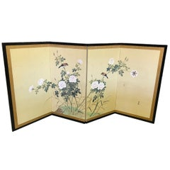 Japanese Asian Four-Panel Folding Byobu Screen