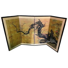 Japanese Asian Four Panel Folding Byobu Showa Period Cherry Blossom Tree Screen