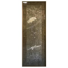 Japanese Asian Large Framed Embroidered Silk Wall Tapestry with Cranes, Mejia
