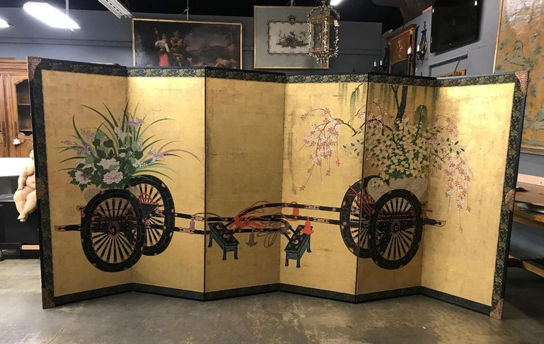 Japanese Asian Large Six-Panel Folding Byobu Flower Cart Screen, 19th Century For Sale 4