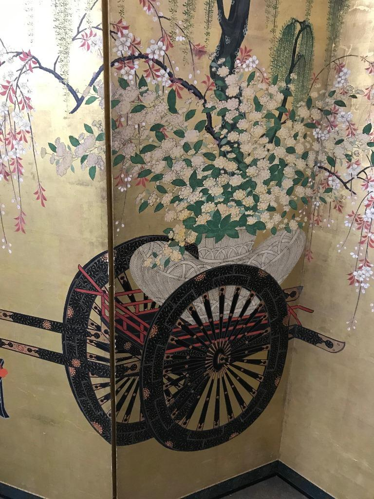 Meiji Japanese Asian Large Six-Panel Folding Byobu Flower Cart Screen, 19th Century For Sale