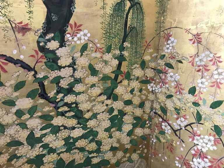 Japanese Asian Large Six-Panel Folding Byobu Flower Cart Screen, 19th Century In Good Condition For Sale In Studio City, CA
