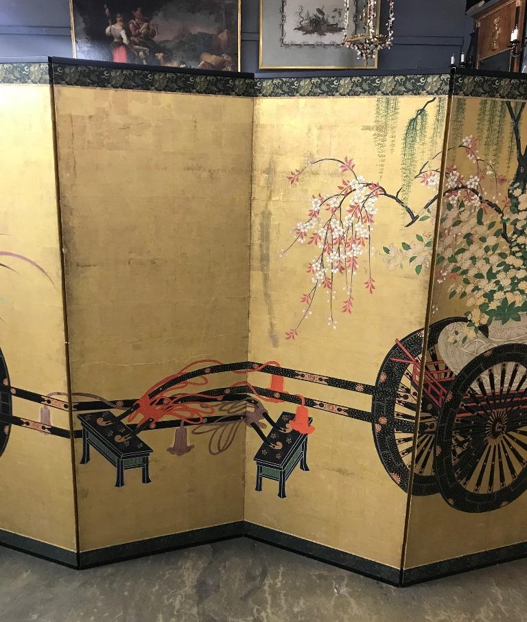 Gold Leaf Japanese Asian Large Six-Panel Folding Byobu Flower Cart Screen, 19th Century For Sale