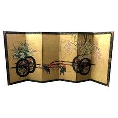 Japanese Asian Large Six-Panel Folding Byobu Flower Cart Screen, 19th Century