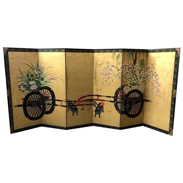 Japanese Asian Large Six-Panel Folding Byobu Flower Cart Screen, 19th Century For Sale
