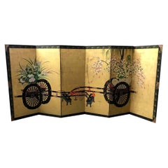 Japanese Asian Large Six-Panel Folding Byobu Flower Cart Screen, 19th Century