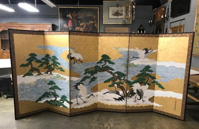 Japanese Asian Large Six-Panel Folding Byobu Screen Cranes by Ocean 19th Century For Sale 4