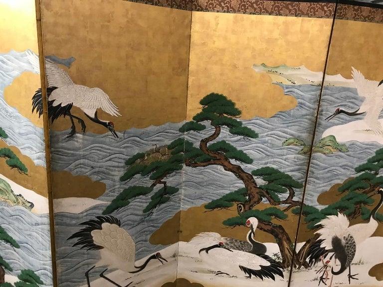 Meiji Japanese Asian Large Six-Panel Folding Byobu Screen Cranes by Ocean 19th Century For Sale