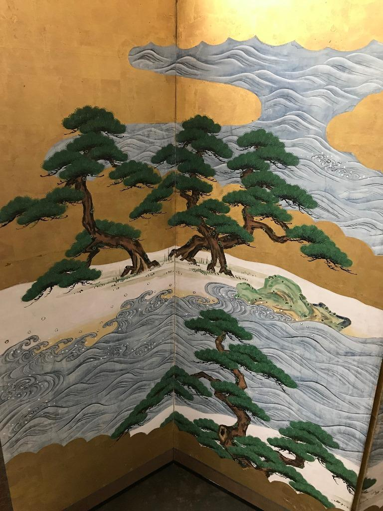 Hand-Painted Japanese Asian Large Six-Panel Folding Byobu Screen Cranes by Ocean 19th Century For Sale