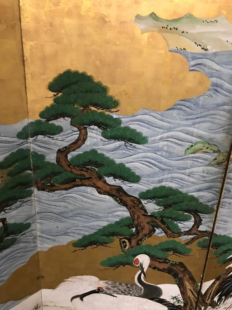 Japanese Asian Large Six-Panel Folding Byobu Screen Cranes by Ocean 19th Century In Good Condition For Sale In Studio City, CA