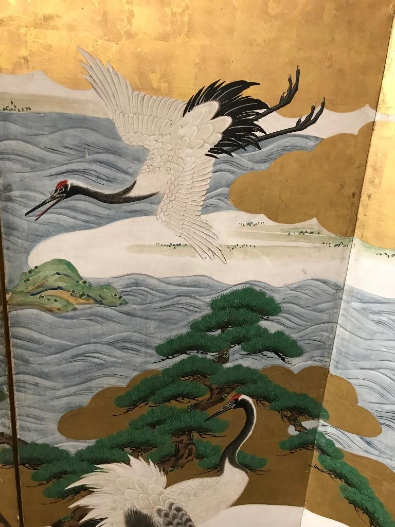 Gold Leaf Japanese Asian Large Six-Panel Folding Byobu Screen Cranes by Ocean 19th Century For Sale