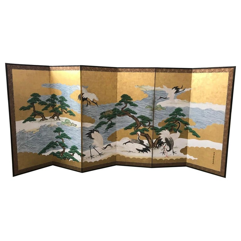Japanese Asian Large Six-Panel Folding Byobu Screen Cranes by Ocean 19th Century For Sale