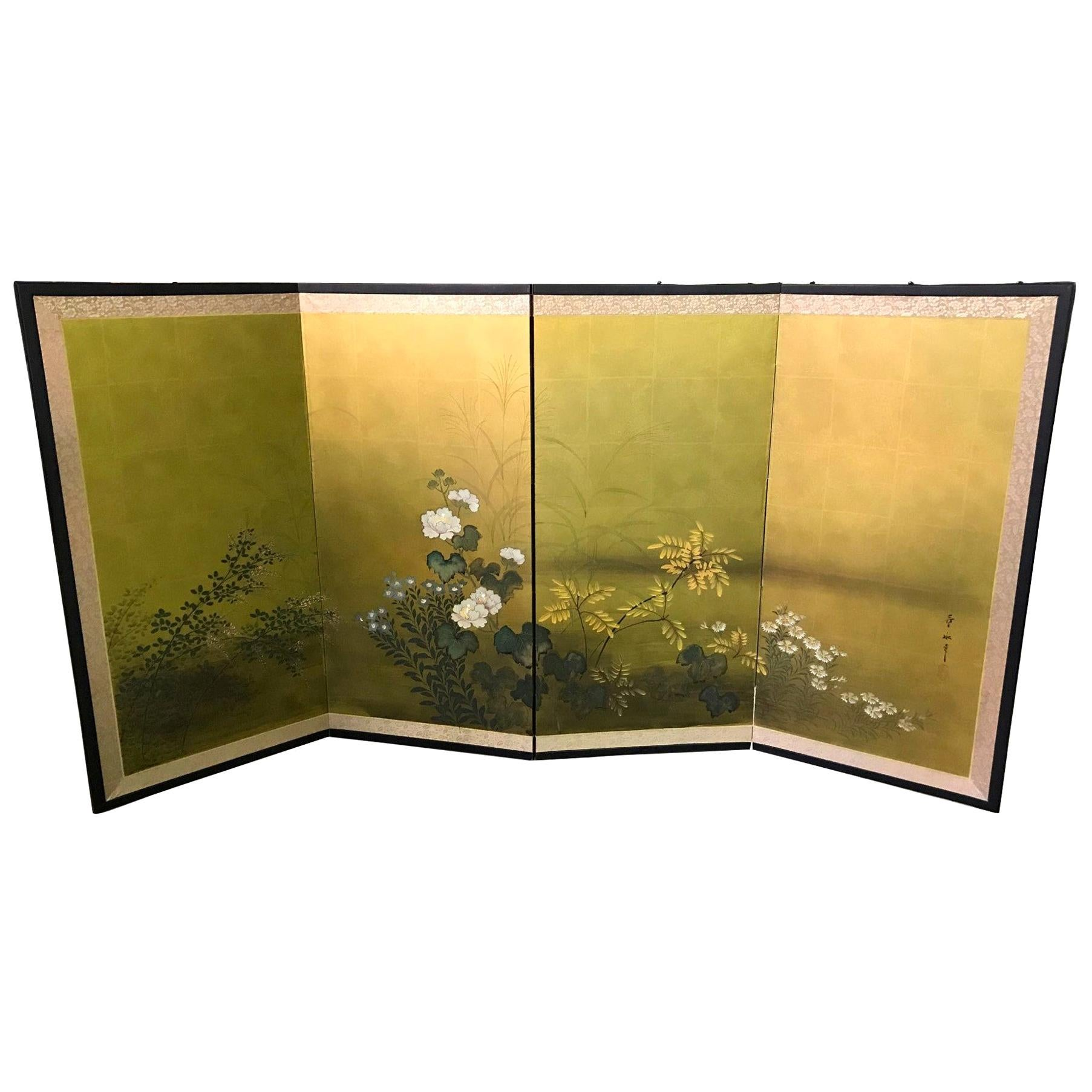 Japanese Asian Signed Four-Panel Folding Byobu Nature Blooming Floral Screen