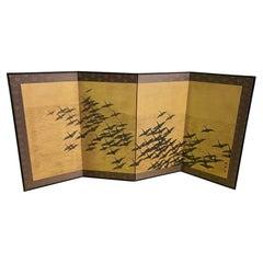 Japanese Asian Signed Four-Panel Folding Byobu Screen Cranes in Flight over Sea