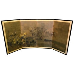 Japanese Asian Signed Four-Panel Folding Byobu Screen Ducks on Pond 19th Century