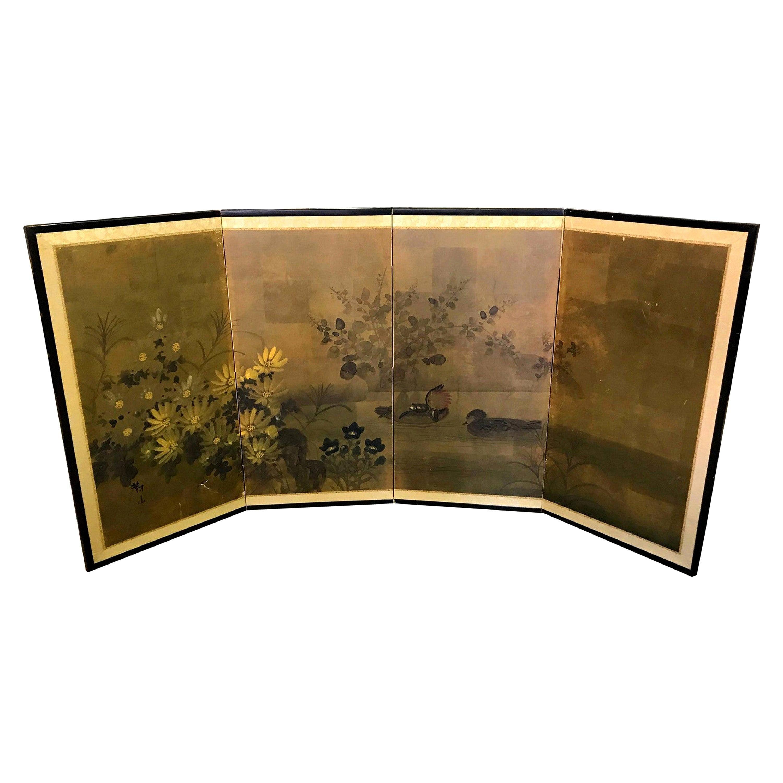 Japanese Asian Signed Four-Panel Folding Byobu Screen Ducks on Pond 19th Century
