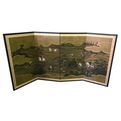 Japanese Asian Signed Four-Panel Folding Byobu Screen Landscape Hunting Scene