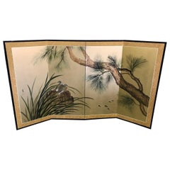 Japanese Asian Signed Four-Panel Folding Byobu Screen Nesting Birds and Fish