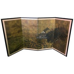 Japanese Asian Signed Four-Panel Folding Byobu Showa Period Landscape Screen