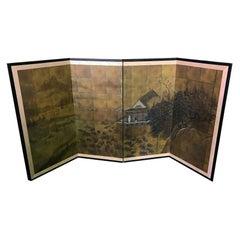 Japanese Asian Signed Four-Panel Folding Byobu Showa Period Landscape Screen
