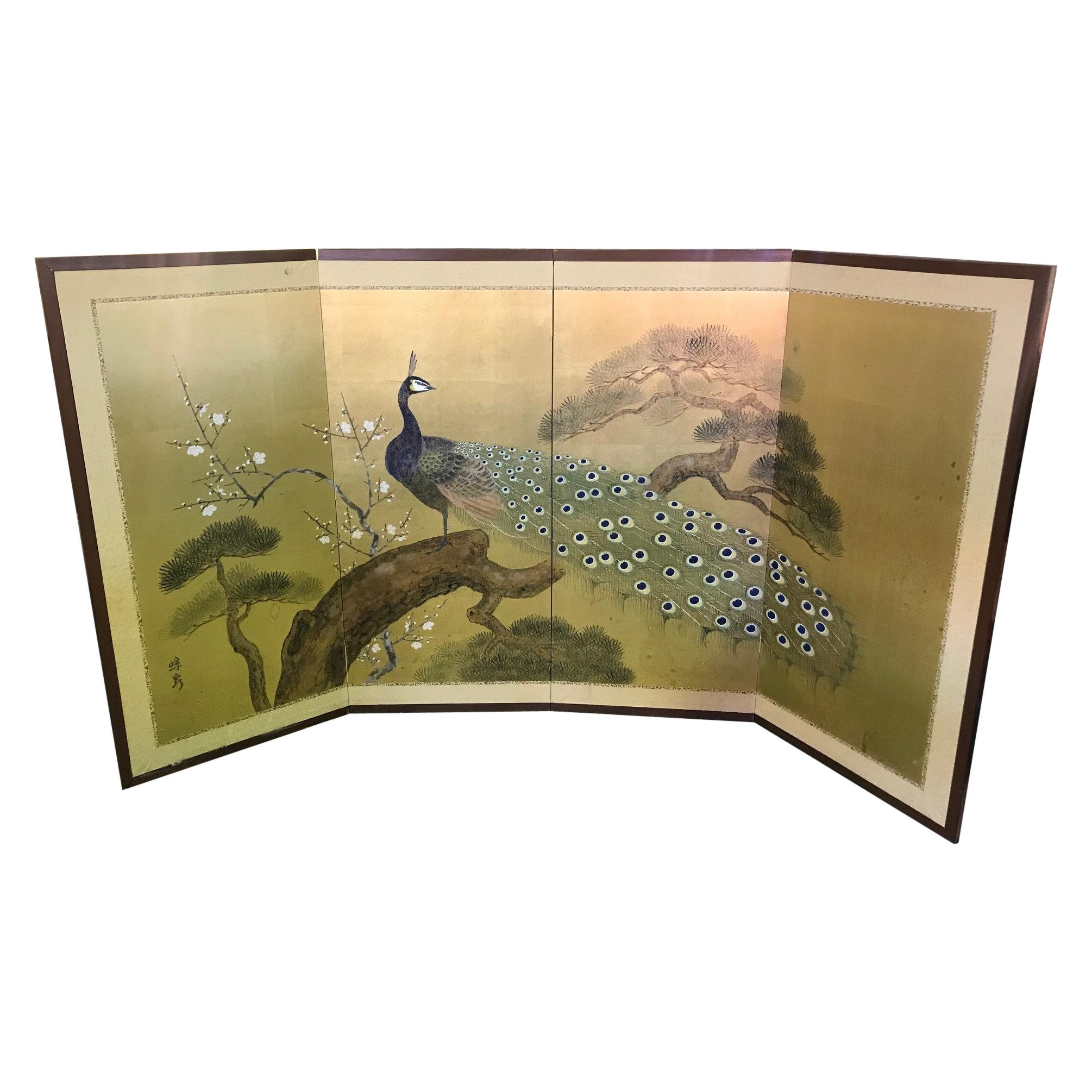 Folding Screen Desk 8 Panels Colorful Flower /& Birds Korean Classic