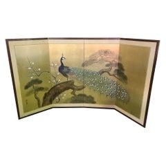 Japanese Asian Signed Four-Panel Folding Byobu Showa Period Peacock Screen