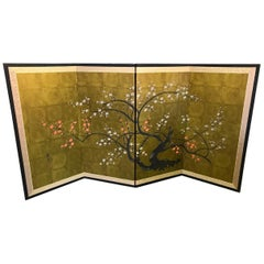 Japanese Asian Signed Four-Panel Folding Byobu Showa Screen Blooming Tree