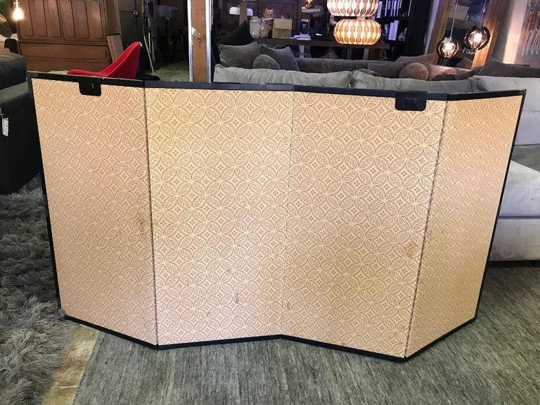 Japanese Asian Signed Four-Panel Folding Byobu Showa Screen Tales of the Genji  For Sale 6