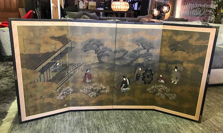 Japanese Asian Signed Four-Panel Folding Byobu Showa Screen Tales of the Genji  For Sale 7