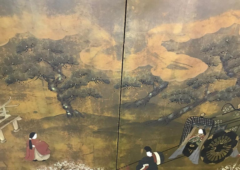 A gorgeous four panel Japanese Byobu folding screen depicting scenes from the Classic Japanese narrative