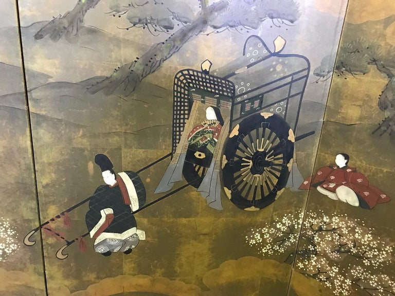 Japanese Asian Signed Four-Panel Folding Byobu Showa Screen Tales of the Genji  In Good Condition For Sale In Studio City, CA