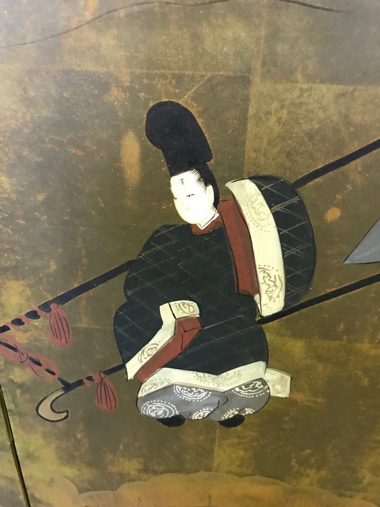 Early 20th Century Japanese Asian Signed Four-Panel Folding Byobu Showa Screen Tales of the Genji  For Sale