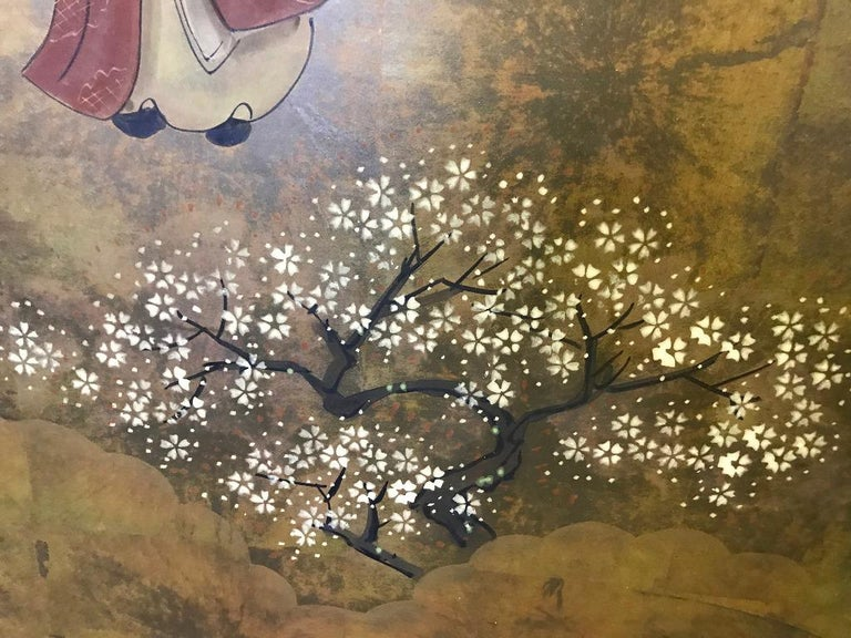 Japanese Asian Signed Four-Panel Folding Byobu Showa Screen Tales of the Genji  For Sale 1