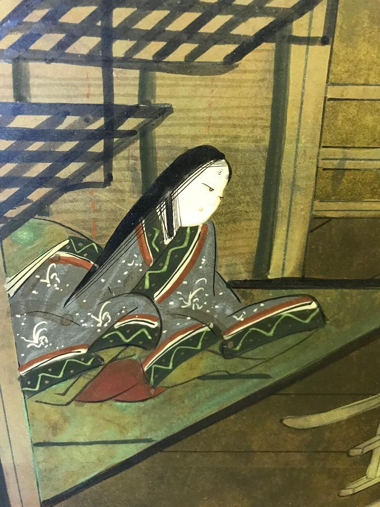 Japanese Asian Signed Four-Panel Folding Byobu Showa Screen Tales of the Genji  For Sale 2