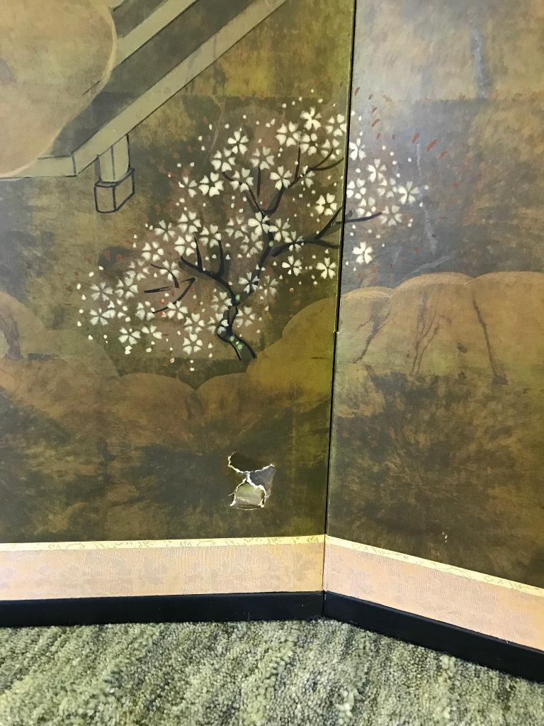 Japanese Asian Signed Four-Panel Folding Byobu Showa Screen Tales of the Genji  For Sale 4
