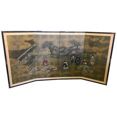 Japanese Asian Signed Four-Panel Folding Byobu Showa Screen Tales of the Genji