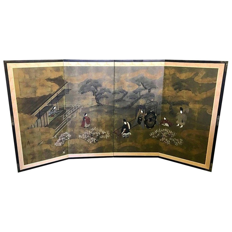 Japanese Asian Signed Four-Panel Folding Byobu Showa Screen Tales of the Genji For Sale