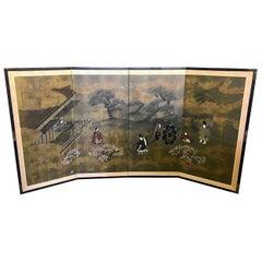 Japanese Asian Signed Four-Panel Folding Byobu Showa Screen Tales of the Genji