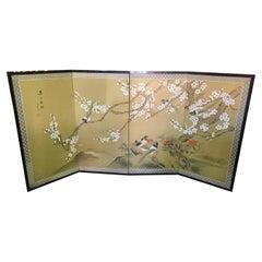 Japanese Asian Signed Four-Panel Showa Folding Byobu Screen Playful Birds