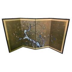 Japanese Asian Signed Four-Panel Showa Folding Byobu Screen Playful Birds Tree