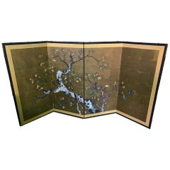 Japanese Asian Signed Four-Panel Showa Folding Byobu Screen Playful Birds Tree