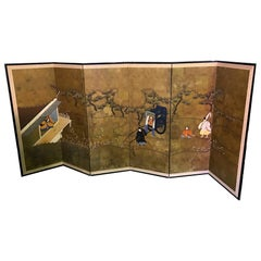 Japanese Asian Signed Six-Panel Folding Byobu Showa Screen Tales of the Genji
