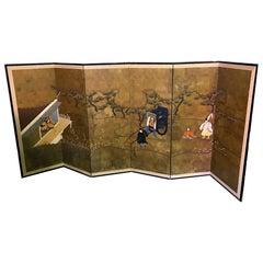 Japanese Asian Signed Six-Panel Folding Byobu Showa Screen Tales of the Genji